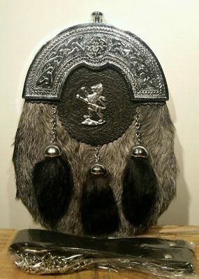 Scottish Kilt Grey Goat Skin Full Dress Sporran Celtic Antique Chrome Cantel