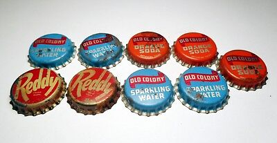Mixed Lot of (9) Vintage Cork Lined Soda Bottle Caps / Crowns
