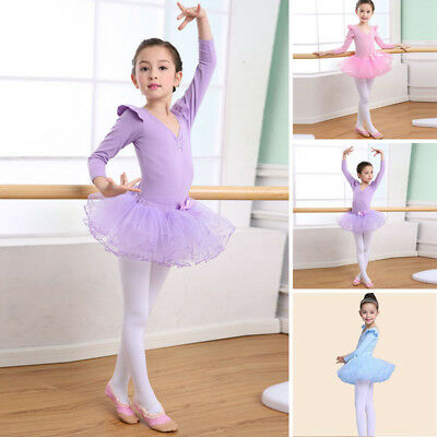 Toddler Girls Kids Gymnastics Ballet Dress Leotard Tutu Skirt Dance wear Costume
