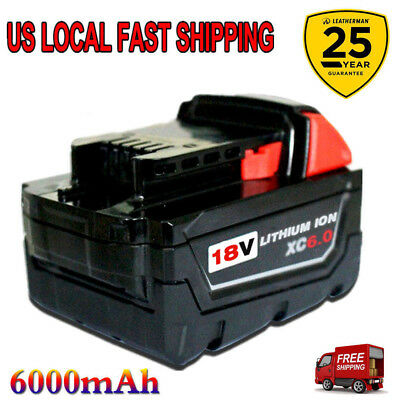 Replace 18V For Milwaukee 48-11-1860 M18 XC 6.0 48-11-1850 High Capacity Battery