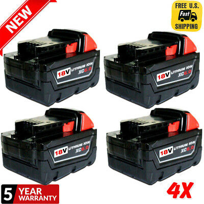 4X Replace For Milwaukee 48-11-1860 M18 18V XC 6.0 Lithium-Ion Cordless Battery