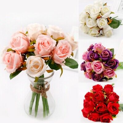 12Heads Artificial Fake Rose Flowers Wedding Bouquet Bunch Gift Home Party Decor