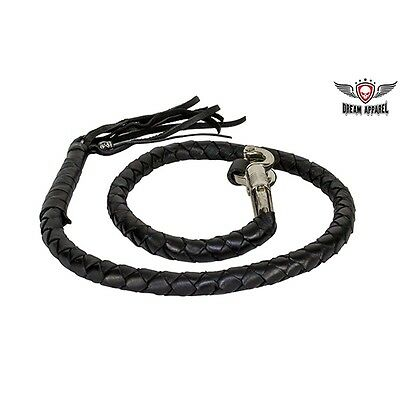 """Get Back Whip Genuine Hand-Braided Black Leather For Motorcycles 42"""" Long"""