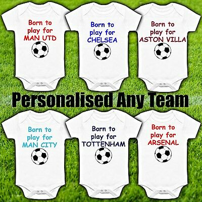 Funny Football Any Team Personalised Novelty Baby Grow Vest Suit Babies Kit