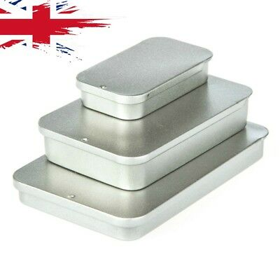 Tin Boxes Sliding Lid Small Storage Rectangle Pill Box Coin Drill Jewellery