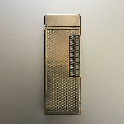 Ancien Briquet Dunhill Rollagas Swiss Made Usa Pat Vintage Gaz Lighter Silver
