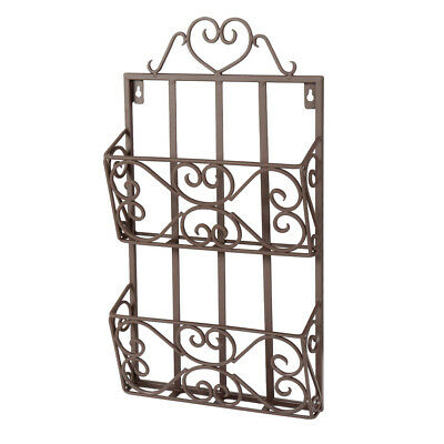 Antique Brown Office Reception Waiting Room Wall Mounted Magazine Basket Rack