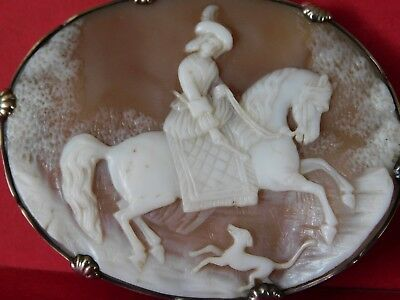 Large EARLY ANTIQUE CARVED CAMEO BROOCH in SOLID SILVER