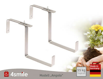 BLUMENKASTENHALTER 4smile 1 Paar in Edelstahl ǀ Verstellbar - Made in Germany