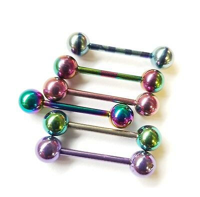 Straight Tongue Bar Barbell Titanium Metallic Neochrome Anodized Stainless Steel