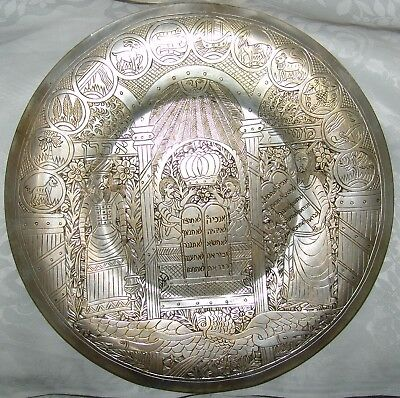 Jewish Judaica Vintage Syria Jews A. Zalta Mark Copper Big Plate Hand Engraving