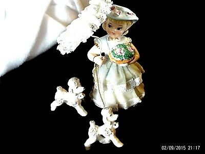 Spaghettii Napco? girl walking poodleswith chains Figurines MINT