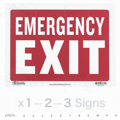 "EMERGENCY EXIT Sign • Door Signs Store Office Shop Safety — Red+White 9x12"" PVC"