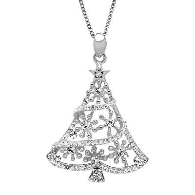 Crystaluxe Christmas Tree Pendant Pendant with Swarovski Crystals in Silver