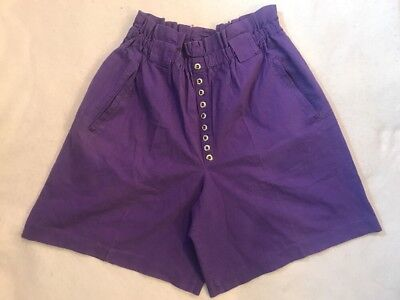VTG 80s 90s M Shirts Purple Silver Buttons High Waist Mom Casual Pockets Culotte