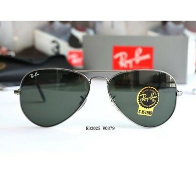 d830afc3a4 Ray Ban AVIATOR RB3025 W0879 Gunmetal Frame G-15 Green Lens 58mm Authentic  New