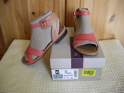 f7eab41a96a7 WOMENS CLARKS VIVECA Zeal Sandals Coral   Tan Leather UK Size 3.5D   REVISED  - £20.00