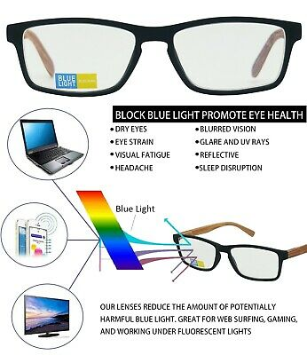 3c72dc56b21 Anti Blue Light Block Glare Pro Computer Wood Prints Arms Reader Reading  Glasses