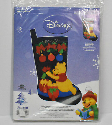 "Pooh's Christmas Stocking Kit Felt Applique 18"" Finished 2007 Janlynn Disney"