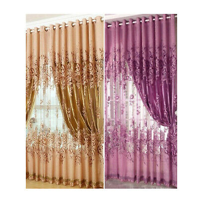 1 Floral Voile Window Curtain Blackout Tulle Curtain Living Room Drape Panel US