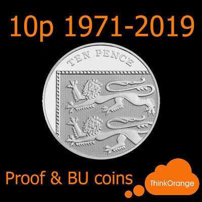 *UK PROOF & BU 10p Ten Pence Coins 1971-2019 Coin Hunt - select year*