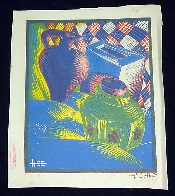 "1950s Chinese Cubist Block Print ""Tea Canister Still Life"" by Hon Chew Hee (Hee)"