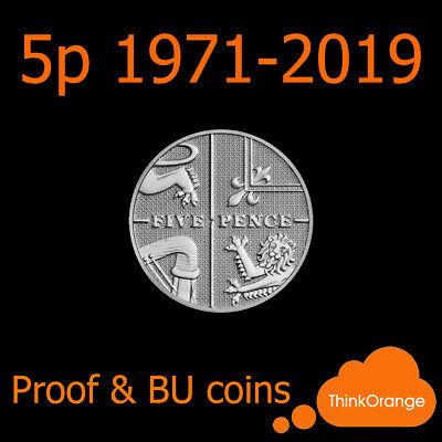 *UK PROOF & BU 5p Five Pence Coins 1971-2019 Coin Hunt - select year*