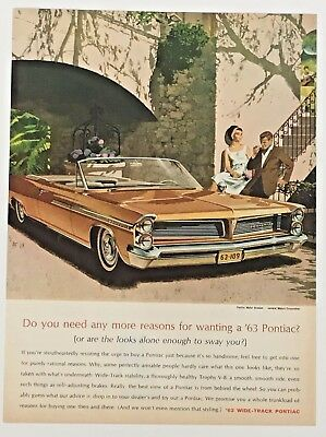 1963 Pontiac Bonneville Convertible Advertisement Color Artwork Vintage Car AD