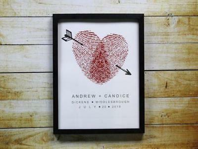 Wedding Fingerprint Heart Alternative Guest Book Print A4 A3 A2 And A1