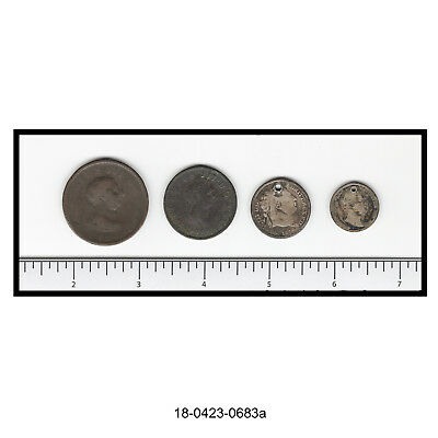 Lot of Four 19th Century Coins of Great Britain (Condition Issues)