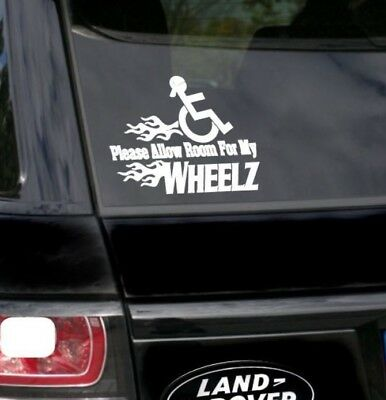Please allow room for my Wheelz Disabled Badge Holder Sticker - Safety/Awareness