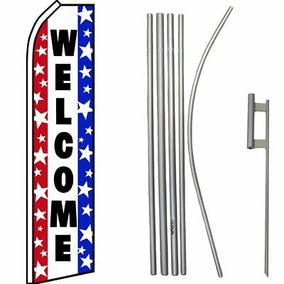 Donuts White /& Pink Swooper Super Flag /& 16ft Flagpole Kit Ground Spike