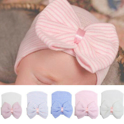 Newborn Infant Baby Girl Soft Cotton Bow Knit Hospital Cap Warm Beanie Hat Cute