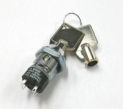 NEW Philmore 30-10076B DPST, ON or OFF Position, Tubular Barrel Type Key Switch