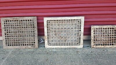 Antique Vintage Cast Iron Victorian Floor Heat Grate Register Vent Cover Set 3