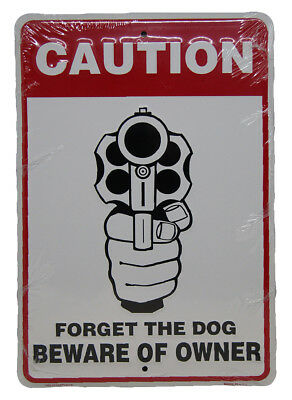"""CAUTION Forget the Dog Beware of Owner 8""""x12"""" Aluminum Metal Plate Parking Sign"""