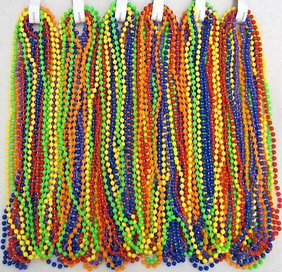 "Mardi Gras Beads Non-Metallic Rainbow 6 Dozen 33"" Parade School 72 Necklaces"