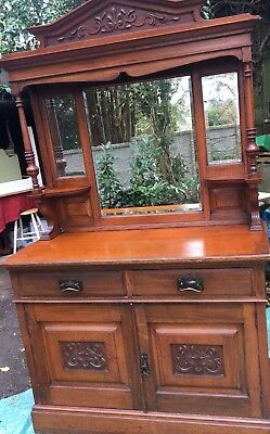 Large Antique Mirrored Buffet/ Sideboard/ Dresser.