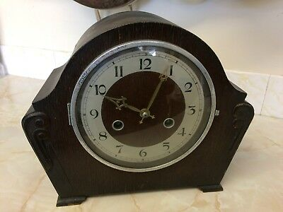Antique Art Deco Mantel Clock Wood Case Westminster Chimes By Andrew clocks