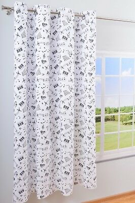 Eyelet Ring Top DECORATIVE 100% Cotton Curtain Panel - Cotton Curtains Music