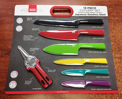 NEW Kuhn Rikon 13-Piece Stainless Steel Knife and Snips Cutle Set In Multicolor