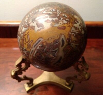 """Marble Stone Sphere 4"""" Carpet Ball on Triple Dragon Brass Stand Brown Bookend"""