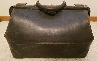 Antique Black Leather Cowhide Large Medical Doctor Bag