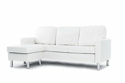 Miraculous White Bonded Leather Sectional Sofa Couch W Reversible Gmtry Best Dining Table And Chair Ideas Images Gmtryco
