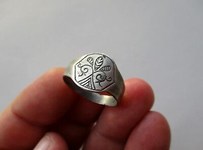 ancient late Roman/Byzantine silver beautiful carved ring,date circa X century
