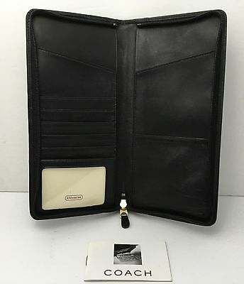 Coach Slim Document Holder Travel Black Leather Credit Card Organizer Zip Around