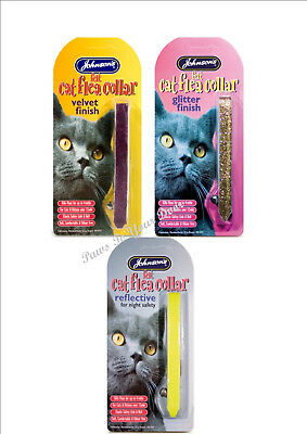 Johnsons Cat Kitten Flea Collar Soft Velvet , Glitter or Reflective Fluorescent