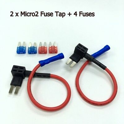 2 x FH146 ATR Micro2 Add-A-Circuit Tap Fuse Holder Adapter +10A 15A Fuse #ecUK