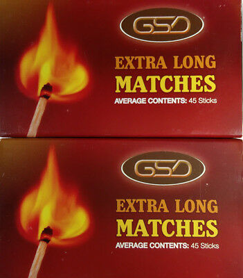 2 Boxes Of GSD Extra Long Matches Ideal For BBQ, Fires, Candles etc