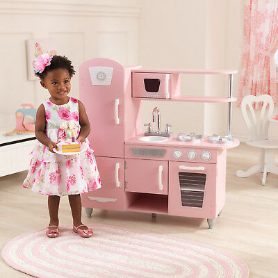 Kidkraft Pink Vintage Retro Kitchen Kid Girl Food Cooking Pretend Play Set